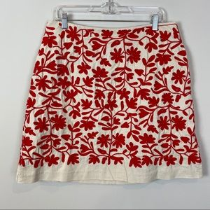 Boden • Cream Skirt with Red Embroidered Detail